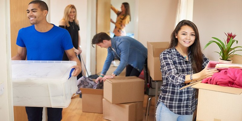 a woman preparing home after move for party