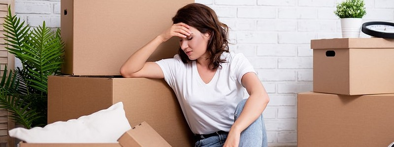 young woman looking stress about her house relocation